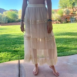 Tiered Crochet Mesh Maxi Skirt